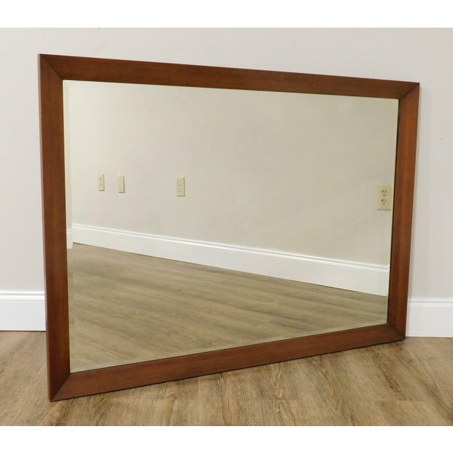 Mid Century Vintage Walnut Frame Beveled Wall Mirror For Sale - Image 12 of 13