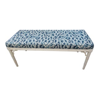 1970s Vintage Upholstered Faux Bamboo Bench For Sale