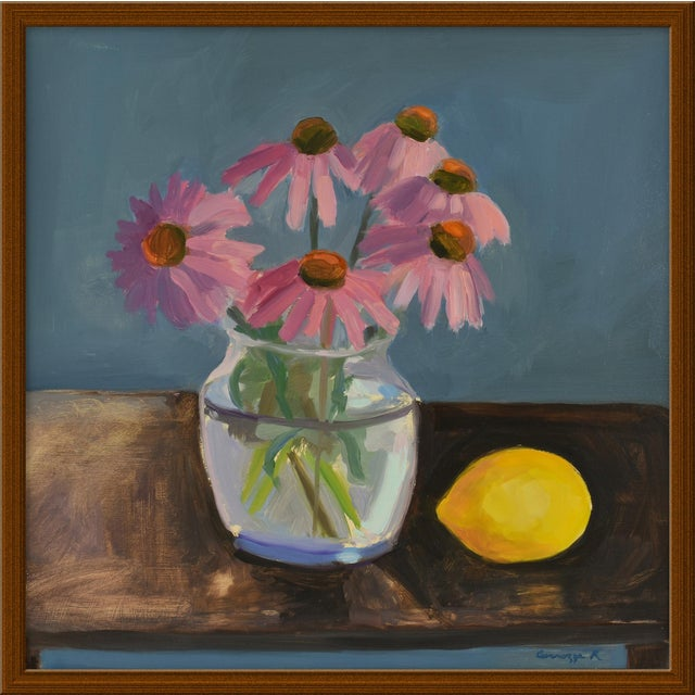 """Small """"Echinacea With Lemon"""" Print by Anne Carrozza Remick, 20"""" X 20"""" For Sale"""