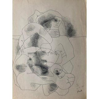 """""""Stuck"""" Mid-Century Drawing by James Bone 1970 For Sale"""