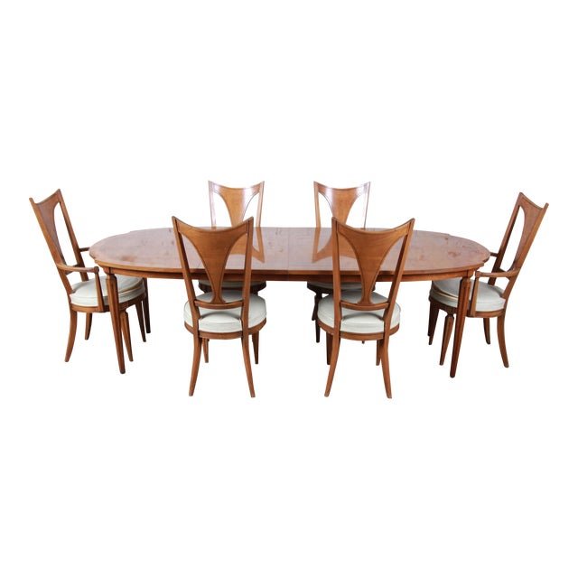Romweber Mid-Century Modern Cherry and Burl Wood Dining Set, 1960s - Set of 7 For Sale
