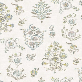 "Lewis & Wood Sicilia Fresco Extra Wide 52"" Botanic Style Wallpaper Sample For Sale"