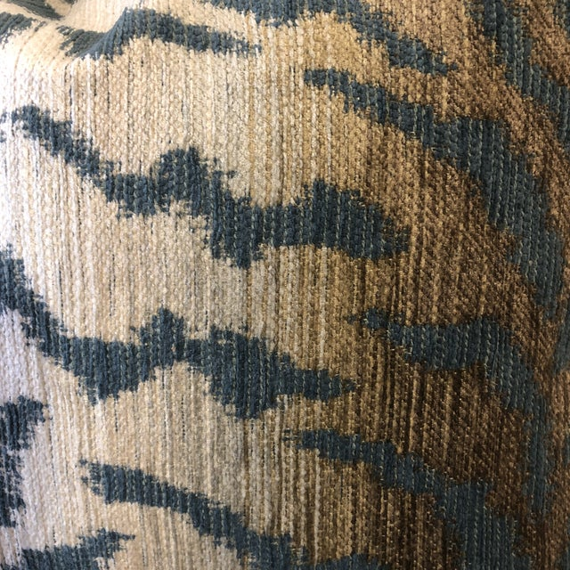 """Custom pair of 22"""" pillows covered in a soft Chenille fabric in a tiger print pattern. Pillows have tapered corners to..."""
