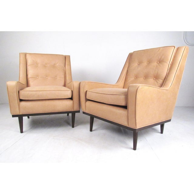 Pair Modern Leather Lounge Chairs For Sale - Image 11 of 11