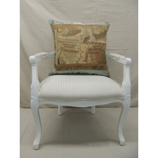 Metal Antique Aubusson Tapestry Square Decorative Pillow For Sale - Image 7 of 8