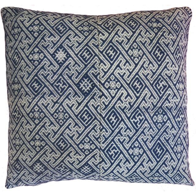 New Hmong Indigo Wedding Blanket Pillow - Image 2 of 4