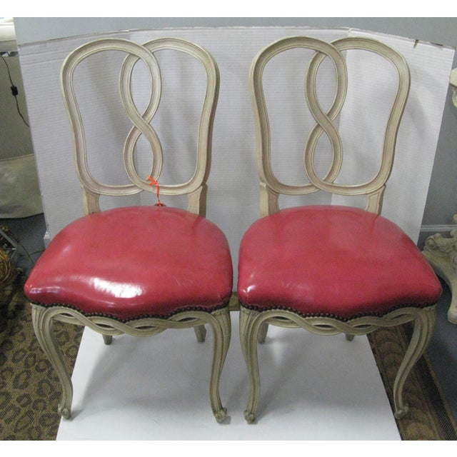 Italian Painted & Pink Leather Chairs - A Pair - Image 2 of 10