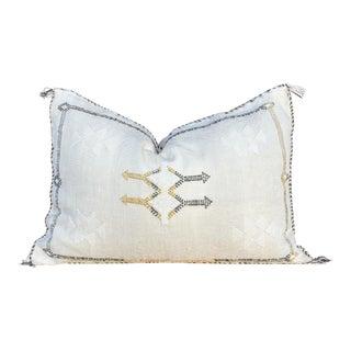 Ecru Lumbar Moroccan Silk Rug Pillow For Sale