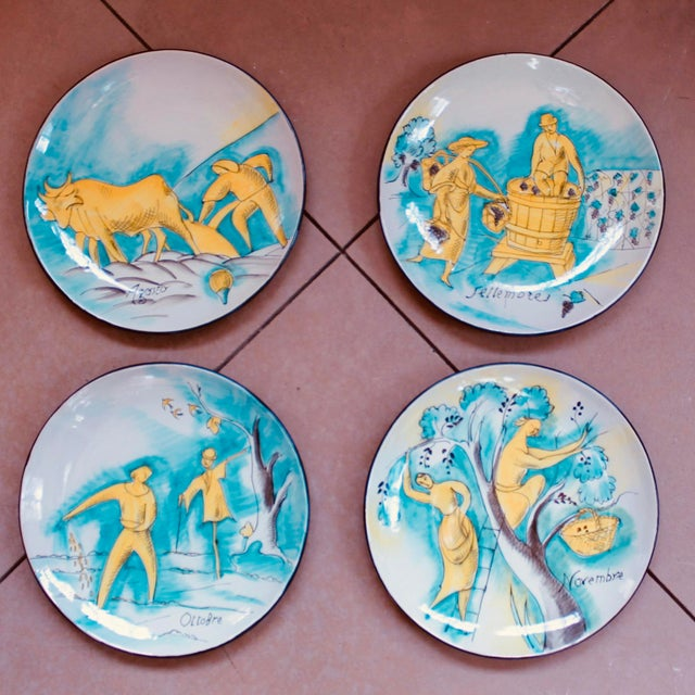 Ceramic Set of 12 Italian Maiolica Dinner Plates, Painted With Country Life Scenes For Sale - Image 7 of 13