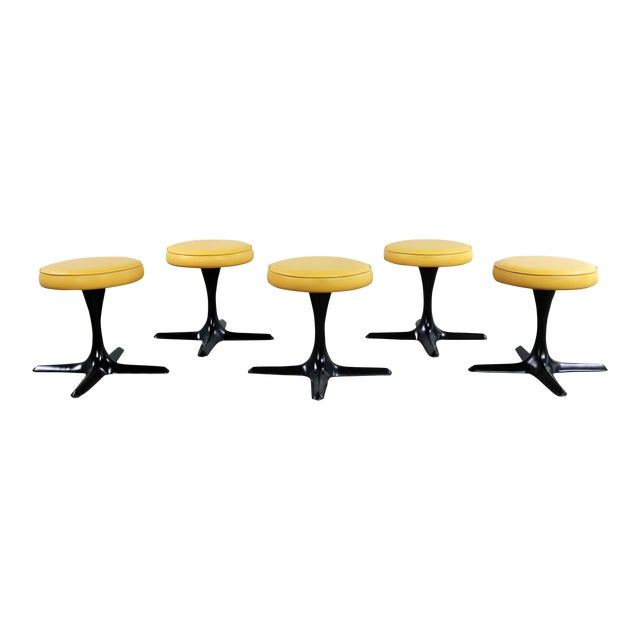 Mid Century Modern Burke Division for Brunswick Tulip Style Swivel Low Stools Set 5 For Sale