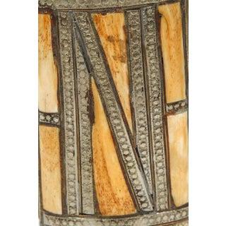Moroccan Berber Brass Tribal Gun Powder Flask With Bone Inlay Preview