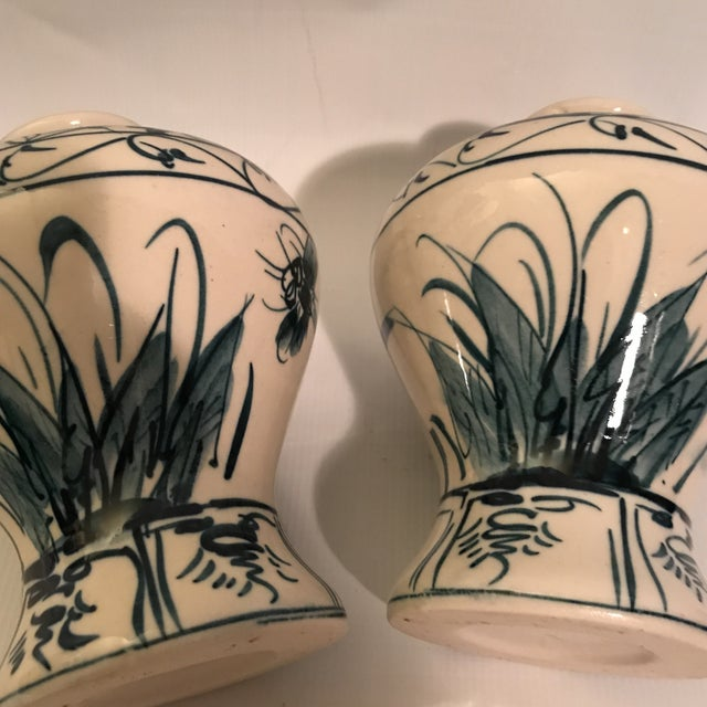 Hand Painted Blue and White Porcelain Vases - a Pair For Sale - Image 10 of 12