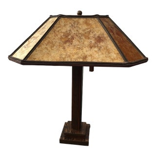 1995 Oak Table Lamp With Shade With Real Leaves in Amber Mica Panels For Sale