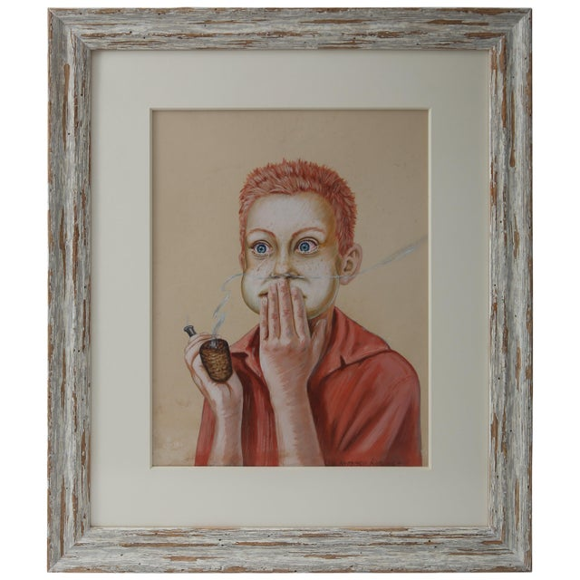 """Wood """"Young Boy With a Corn Cob Pipe"""" Pastel Drawing on Paper For Sale - Image 7 of 7"""
