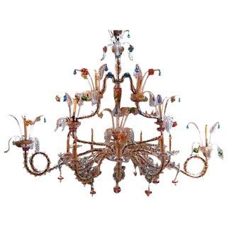 Venetian Palazzo Rezzonico Murano Glass Chandelier For Sale