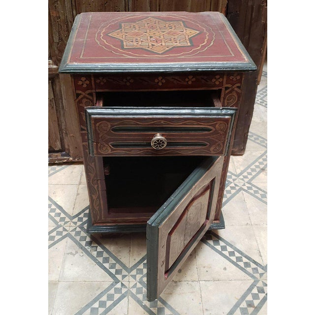 1990s 1990s Moroccan Hand Painted Wooden Nightstand For Sale - Image 5 of 7