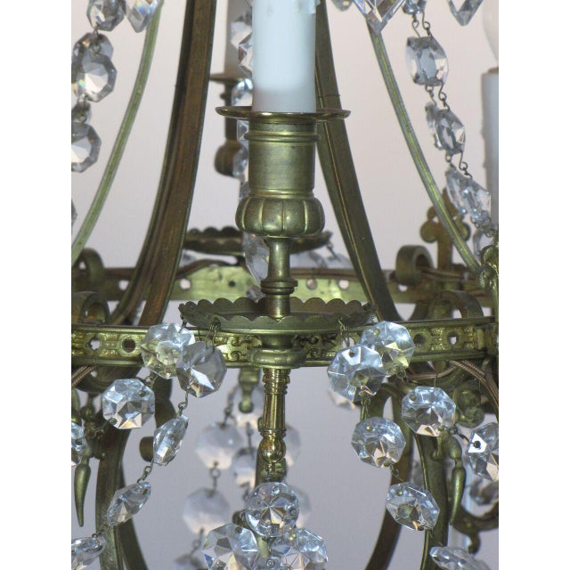 French Bronze and Crystal Chandelier For Sale - Image 4 of 9