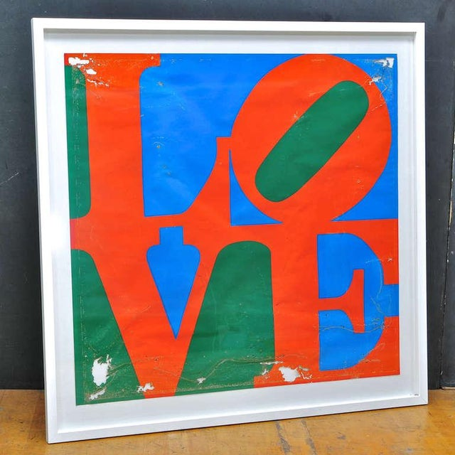 Salvaged from the caribbean an early Robert Indiana unsigned, LOVE serigraph. Now mounted as a specimen, in as-found...
