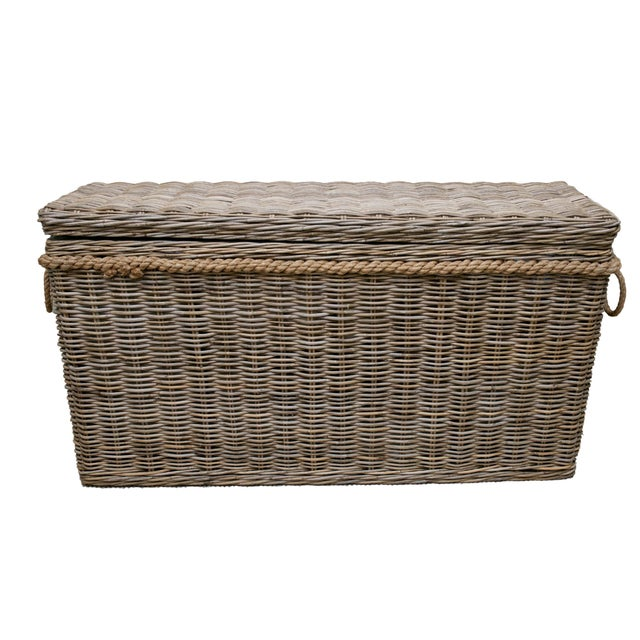 Driftwood Gray Rattan Wicker Blanket Storage Chest - Image 1 of 5