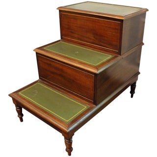 George III Mahogany & Leather Bedsteps For Sale