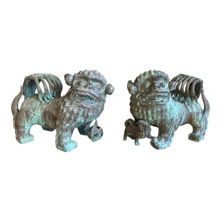 Monumental Antique Chinese Bronze Foo Dogs - a Pair For Sale