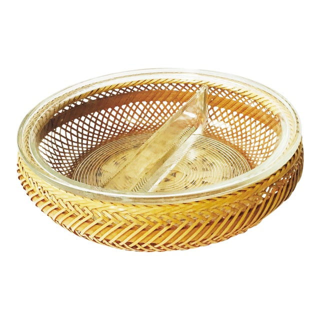 Vintage Glass Pyrex Tray in Wicker Basket - Image 1 of 6