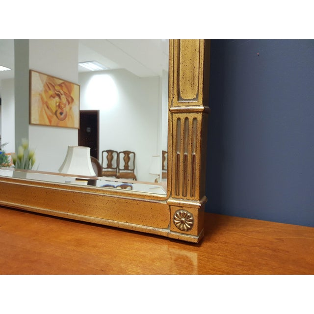 Wood Vintage Rectangular Neoclassical Gilded Wall Mirror For Sale - Image 7 of 13
