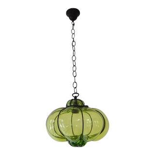 Midcentury Seguso Style Murano Green Bubbles Blown Lantern Chandelier For Sale