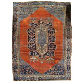1880s, Handmade Antique Persian Bakshaish Rug 11' X 15.7' For Sale