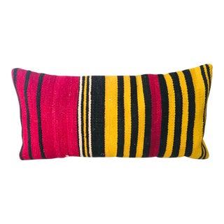 Striped Yoruba Fabric Lumbar Pillow For Sale