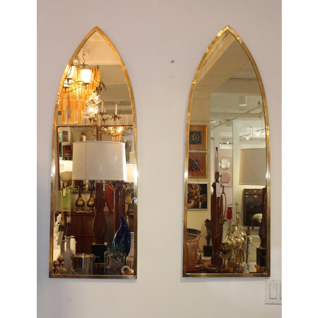 1950s solid brass Italian arched mirrors. Lightly polished.