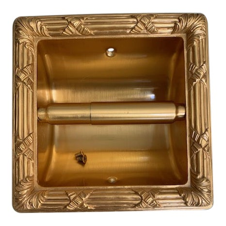 Sherle Wagner Gold Plate Recessed Toilet Paper Holder For Sale