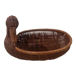 Vintage Wicker Mallard Duck Basket Bowl For Sale