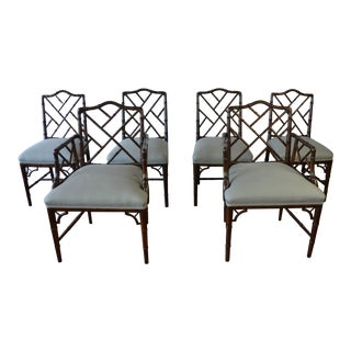 Chinese Chippendale Style Faux Bamboo Dining Chairs, Set of 8 For Sale