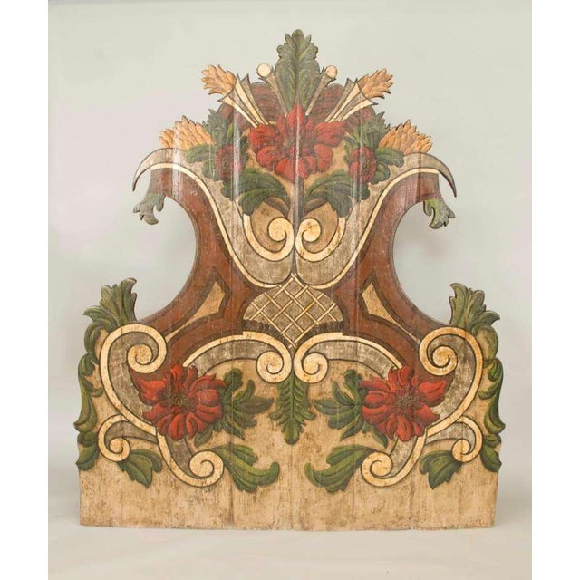Exuberant Portuguese polycromed stately headboard. This headboard probably came from one of the great houses in Portugal....