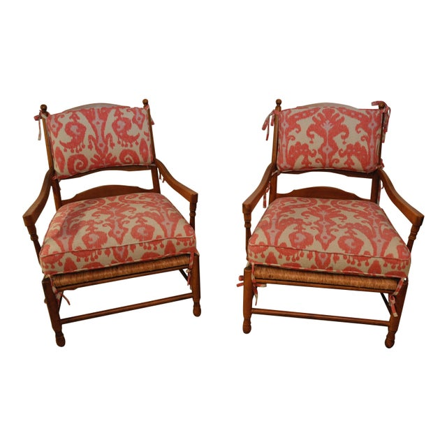 Ikat French Ladderback Cushioned Rush Seat Chairs - A Pair - Image 1 of 8