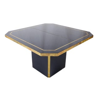 Jc Mahey Royal Blue Lacquered Extendable Dining Table With Brass Detail For Sale