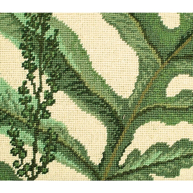 Illustration Fern Needlepoint Accent Pillow For Sale - Image 3 of 4
