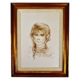 Image of Vintage Edna Hibel Limited Edition Pencil Signed Lithograph Portrait of a Young Girl For Sale