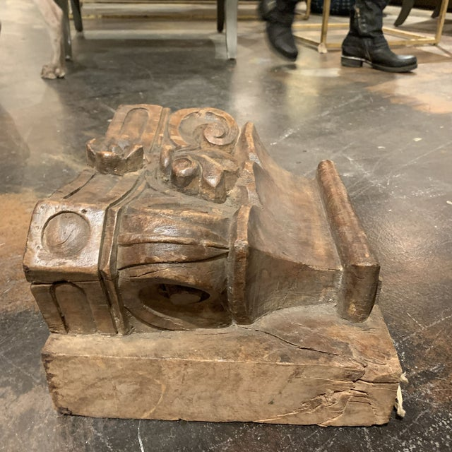 English Colonial Indian Carved Teak Column Base Architectural Element C 1880 For Sale - Image 10 of 13