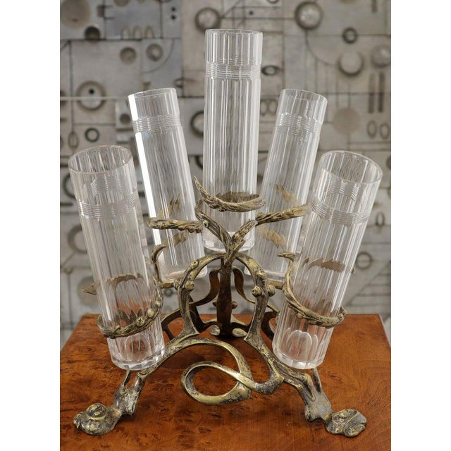 Art Nouveau 5 Branches Center Piece Cut Glass Vases For Sale - Image 9 of 13