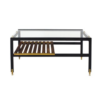 1950s Coffee Table, Blackened Steel, Brass, Wenge Slats, Glass, Italy For Sale