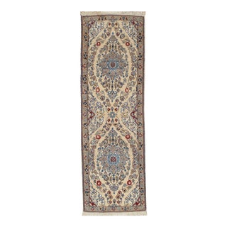 Traditional Pasargad Ny Persian Nain Hand-Knotted Lamb's Wool & Silk Rug - 2′ × 6′2""