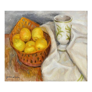 """Frederick Pomeroy """"Still Life With Lemons"""" Oil Painting on Linen, Mid 20th Century For Sale"""