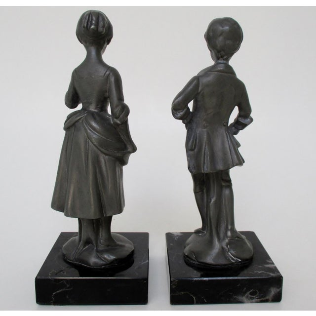 Late 20th Century English Pewter Figurines - Set of 2 For Sale - Image 5 of 8
