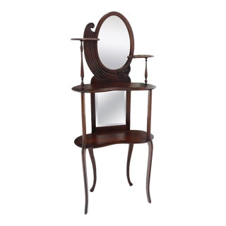 Solid Mahogany Organic Shape Oval Beveled Glass Staggered 4-Tier Étagère Shelf For Sale