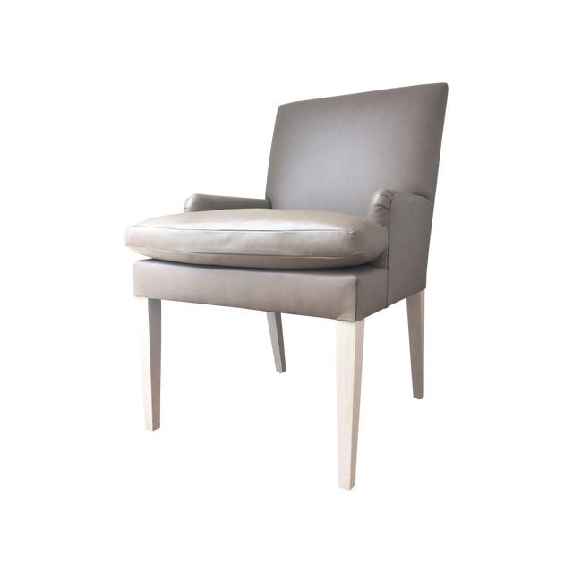Contemporary Leather Accent Dining Chairs - Pair - Image 2 of 7