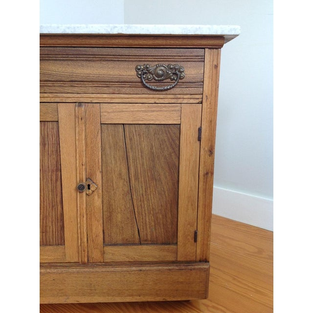 Marble Early 20th Century Country Oak and Marble Washstand Cupboard For Sale - Image 7 of 10