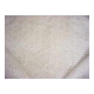 Mid-Century Modern Thibaut Meander Greek Key Textured Velvet Upholstery Fabric - 7-3/8y For Sale