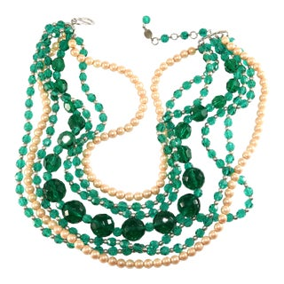 Christian Dior Necklace Dated 1960 Emerald Green Faux Pearl Beads For Sale